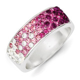 Stellux Crystal Pink & White Band Ring Sterling Silver MPN: QR4173
