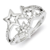 Triple Star Ring Sterling Silver Rhodium-plated Diamond MPN: QR4221