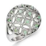 Emerald Circle Ring Sterling Silver MPN: QR4315