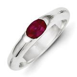 Red Oval Diamond Half Bezel Ring Sterling Silver MPN: QR4320