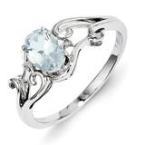 Aquamarine Oval Ring Sterling Silver Rhodium-plated Diamond MPN: QR4500AQ