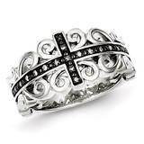 Black Rhodium-plated Cross Ring Sterling Silver Diamond MPN: QR5630