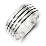 Ribbed Ring Antiqued Sterling Silver MPN: QR942