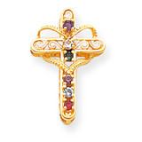 6 Birthstones Filigree Mothers Cross Pendant 14k Gold Polished XMP5/6