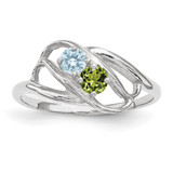 2 Birthstones Mother's Ring Sterling Silver XMR1/2SS