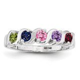 5 Birthstones Mothers Ring 14k White Gold Polished XMR11/5W