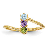 3 Birthstones Mothers Ring 14k Gold Polished XMR15/3
