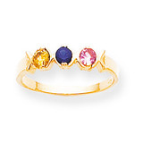 3 Birthstones Mothers Ring 14k Gold Polished XMR17/3