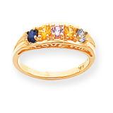 5 Birthstones Antiqued Mothers Ring 14k Gold Polished XMR22/5