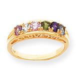 6 Birthstones Mothers Ring 14k Gold Polished XMR22/6
