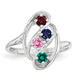 4 Birthstones Mothers Ring 14k White Gold Polished XMR3/4W