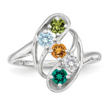 5 Birthstones Mothers Ring 14k White Gold Polished XMR3/5W