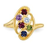 6 Birthstones Mothers Ring 14k Gold Polished XMR3/6