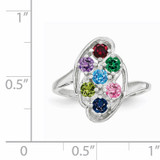 7 Birthstones Mothers Ring 14k White Gold Polished XMR3/7W