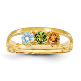 3 Birthstones Mothers Ring 14k Gold Polished XMR7/3