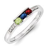 3 Birthstones Family Jewelry Diamond Semi-Set Ring 14k White Gold XMRW42/3