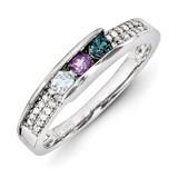 3 Birthstones Family Jewelry Diamond Semi-Set Ring 14k White Gold XMRW49/3