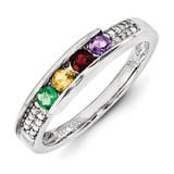 4 Birthstones Family Jewelry Diamond Semi-Set Ring 14k White Gold XMRW49/4