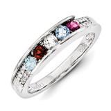 5 Birthstones Family Jewelry Diamond Semi-Set Ring 14k White Gold XMRW49/5