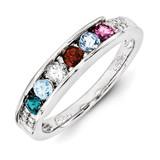 6 Birthstones Family Jewelry Diamond Semi-Set Ring 14k White Gold XMRW49/6