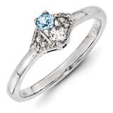 2 Birthstones Family Jewelry Diamond Semi-Set Ring 14k White Gold XMRW50/2