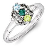 3 Birthstones Family Jewelry Diamond Semi-Set Ring 14k White Gold XMRW50/3