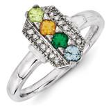 4 Birthstones Family Jewelry Diamond Semi-Set Ring 14k White Gold XMRW50/4