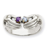 2 Birthstones Family Ring 14k White Gold XMRW51/2