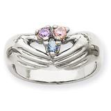 3 Birthstones Family Ring 14k White Gold XMRW51/3