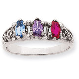 3 Birthstones Family Ring 14k White Gold XMRW52/3