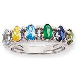 6 Birthstones Family Ring 14k White Gold XMRW52/6