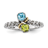 2 Birthstones & 14k Two-stone Mother's Ring Sterling Silver QMR10/2-10