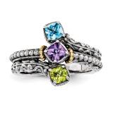 3 Birthstones & 14k Three-stone Mother's Ring Sterling Silver QMR10/3-10
