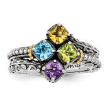 4 Birthstones & 14k Four-stone Mother's Ring Sterling Silver QMR10/4-10