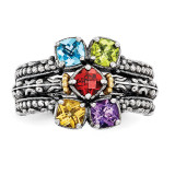 5 Birthstones & 14k Five-stone Mother's Ring Sterling Silver QMR10/5-10
