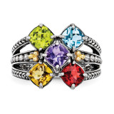5 Birthstones & 14k Five-stone Mother's Ring Sterling Silver QMR11/5-10