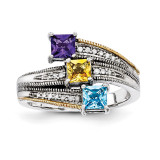 3 Birthstones & 14k Three-stone and Diamond Mother's Semi-Mount Ring Sterling Silver QMR12/3-10