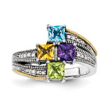 4 Birthstones & 14k Four-stone and Diamond Mother's Semi-Mount Ring Sterling Silver QMR12/4-10