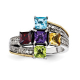 5 Birthstones & 14k Five-stone and Diamond Mother's Semi-Mount Ring Sterling Silver QMR12/5-10