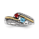 2 Birthstones & 14k Two-stone Mother's Ring Sterling Silver QMR13/2-10