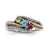 3 Birthstones & 14k Three-stone Mother's Ring Sterling Silver QMR13/3-10