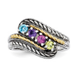 4 Birthstones & 14k Four-stone Mother's Ring Sterling Silver QMR13/4-10