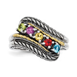5 Birthstones & 14k Five-stone Mother's Ring Sterling Silver QMR13/5-10