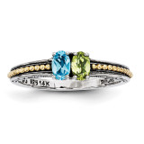 2 Birthstones & 14k Two-stone Mother's Ring Sterling Silver QMR14/2-10