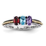 3 Birthstones & 14k Three-stone Mother's Ring Sterling Silver QMR14/3-10