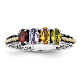 4 Birthstones & 14k Four-stone Mother's Ring Sterling Silver QMR14/4-10