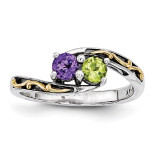 2 Birthstones & 14k Two-stone Mother's Ring Sterling Silver QMR15/2-10