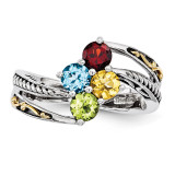 4 Birthstones & 14k Four-stone Mother's Ring Sterling Silver QMR15/4-10
