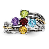 5 Birthstones & 14k Five-stone Mother's Ring Sterling Silver QMR15/5-10