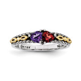 2 Birthstones & 14k Two-stone Mother's Ring Sterling Silver QMR16/2-10